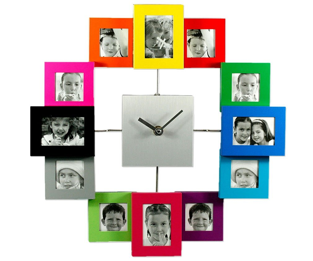 Buy Micro Traders Color Family Time Photo Frame Wall Clock 35cm