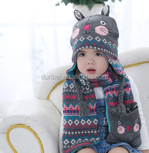 Wholesale factory custom 2015 new fashion little girl knitted kids hat scarf gloves set