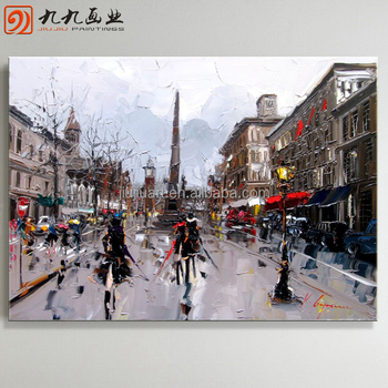 Wholesale Handmade canvas paintings paris street scene oil painting