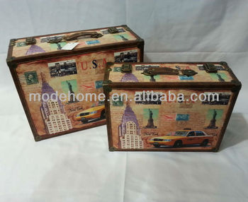 New Wood Canvas Vintage Suitcase For Home Decoration