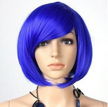 New Womens Inclined Bangs Short Straight Wig BOBO Cosplay Party Full Wigs Hair