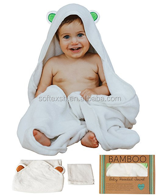 100% Natural Soft Hypoallergenic Bamboo terry 500 gsm 34x34inch baby hooded towel organic