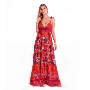 fashion culture floral women halter dress,chiffon polyester maxi long dresses