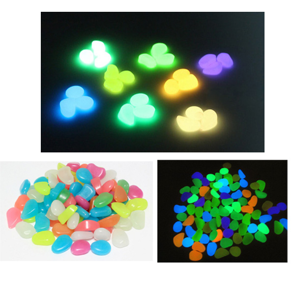 Bunte glow in the dark luminous kiesel künstliche stein aquarium aquarium acryl gehweg garten dekoration glowing felsen