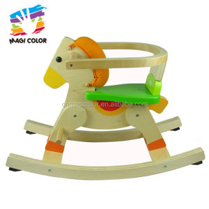 Wholesale attractive low price baby wooden rocking horse toy have a backrest W16D035