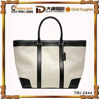 hot sale canvas shopping bags with leather handle leather trim