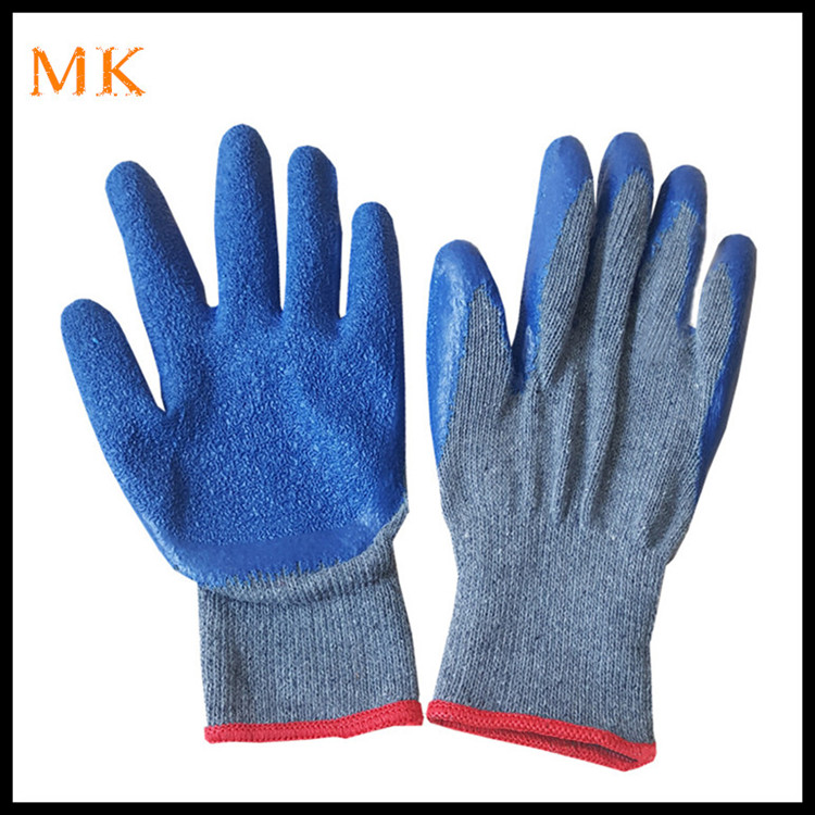 Cargo handling 10G knitted back latex coated hand protective gloves