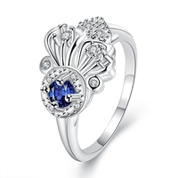 2016 New Style Silver Plated AAA+ Cubic Zircon Diamond Stone Flower Ring Fashion Cocktail Party Jewelry