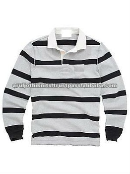 Men 39 S New Style Striped Rugby Polo Shirt With Contrast