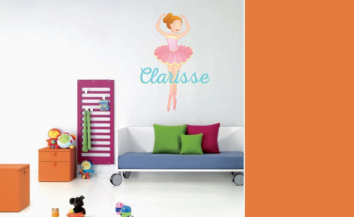 "Custom Name Ballet Princess - Personalized Name Girl Mural - Baby's Mural Room Vinyl Sticker Wall Decal (Wide 26"" x 40"" Height)"