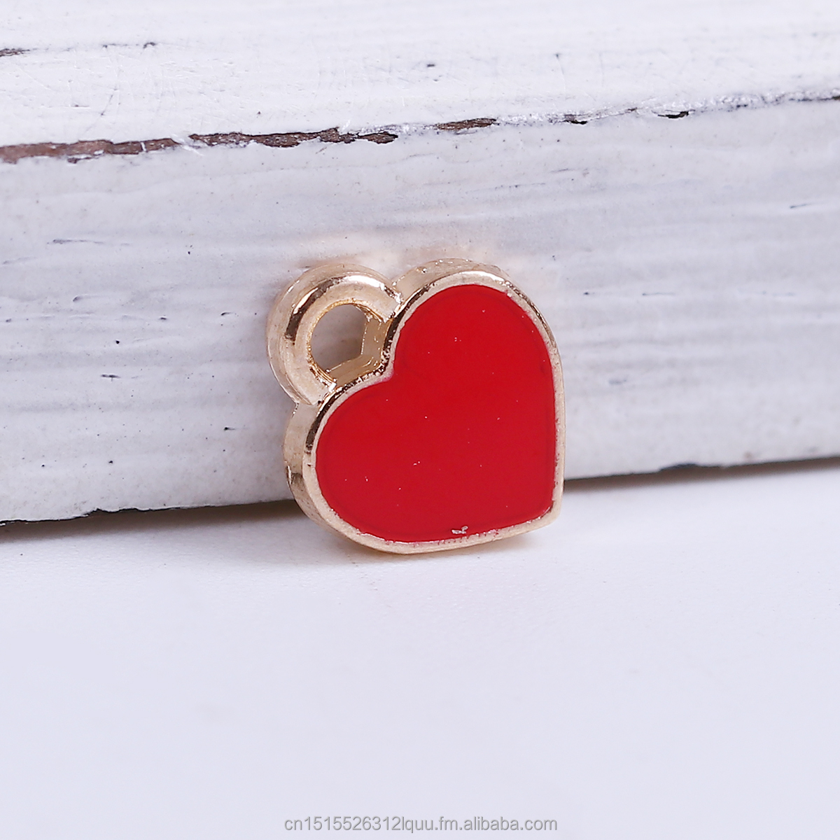 Zinc Based Alloy Poker/Paper Card/Game Card <strong>Charms</strong> Gold Plated Red Heart Enamel
