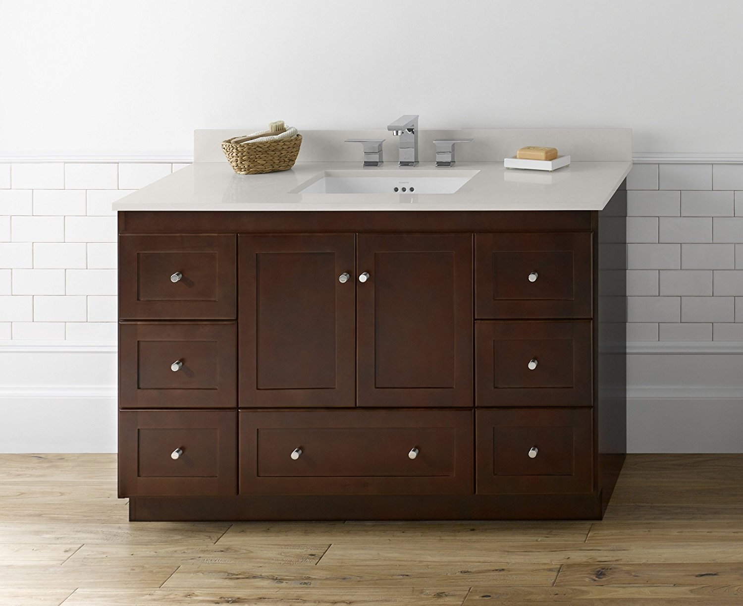 RONBOW Shaker 48 Inch Bathroom Vanity Base Cabinet with Soft Close Wood Door, Cabinet Drawer and Adjustable Shelf in Dark Cherry 081948-3-H01