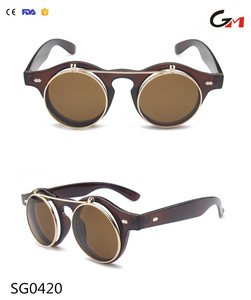 Wholesale men women vintage steampunk sunglasses double AC lenses and pc frame renovate lens flip up sunglasses