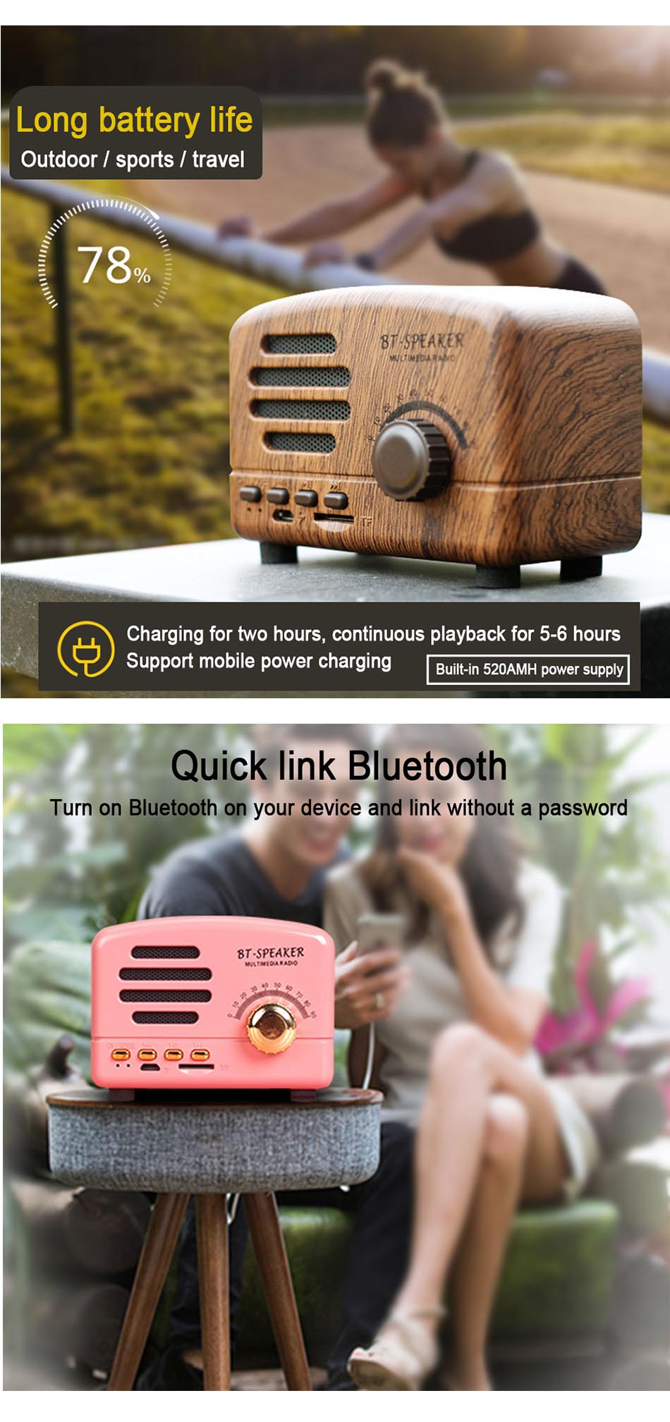 Retro Wireless Bluetooth Speaker Mini Portable Speakers Adjustable Heavy Bass Loudspeakers Support TF Card FM Radio Music Player