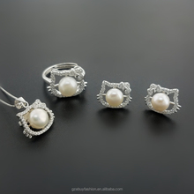Hello Kitty Style Jewelry Sets 925 Sterling Silver Freshwater Pearl Jewelry Sets for Wedding