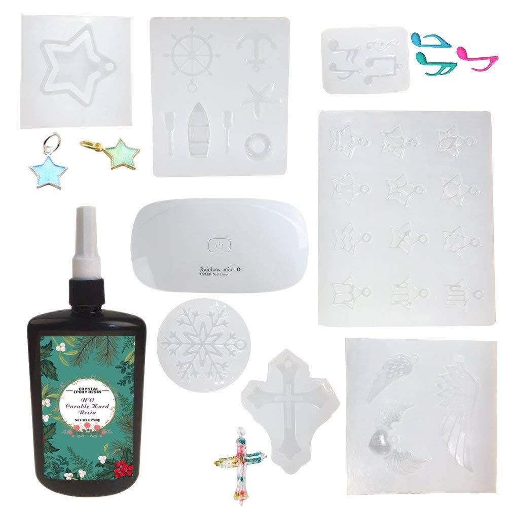 Frenshion 250ML Crystal Epoxy Resin UV Glue Nail Art Tools 12 Constellations, Snowflake, Pentagram, Angel wings, Naval anchor, Musical note,Cross,1 Mini Lamp For DIY Nail Art Accessories
