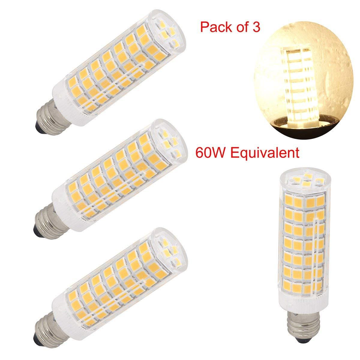 led e11 led light bulbs mini Candelabra base 120V jd t4 led light bulbs 6w, 60W 75W halogen bulbs replacement Warm white, Ceiling fan light-pack of 3 (Warm White 3000K)