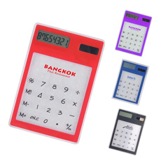 New cell button battery office desk  8 digits transparent rectangle flat card thin electronic scientific touch screen calculator