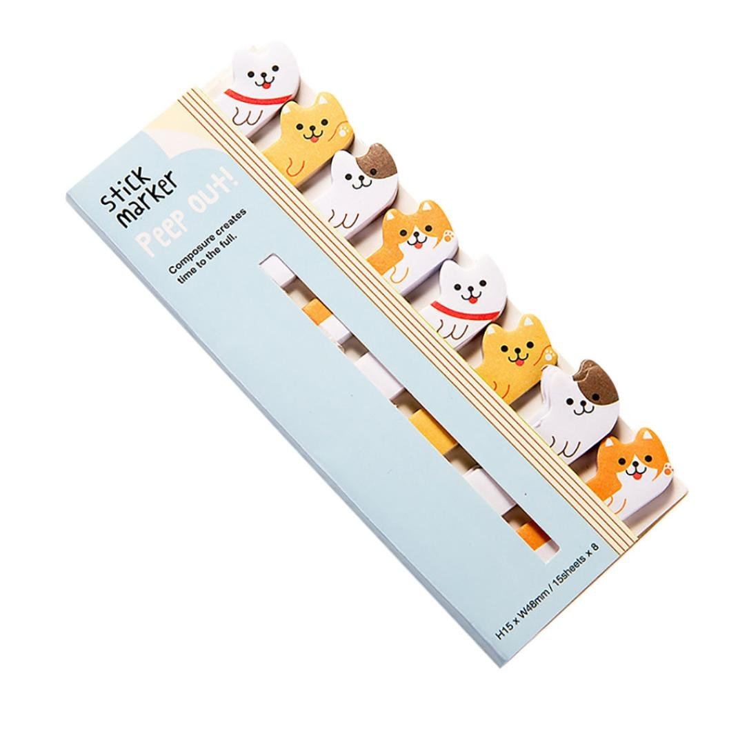 Cartoon Animal Page Marker, Lotus.flower 3 Pcs Lovely Cute Sticky Notes Assorted Memo Pads Page-marker Book Label Bookmarks For All Occasions (Dog, Multicolor)
