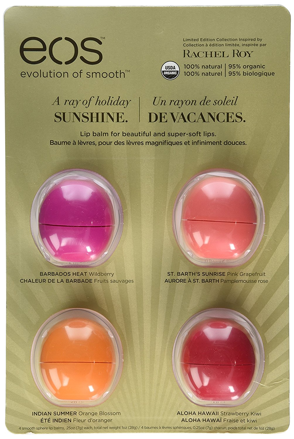 EOS Rachel Roy 2014 Holiday Lip Balm Limited Edition, 4 Flavor Gift Set