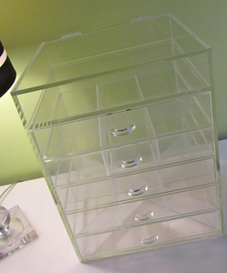 Clear Acrylic Makeup Cube 5 Drawer Plus 1 Lid Acrylic Make Up Organizer Case