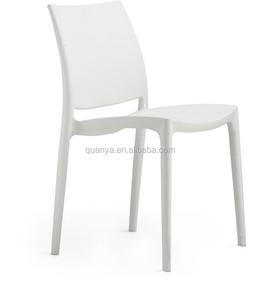 Wholesale colored solid plastic restaurant chair stacking chair white plastic chair