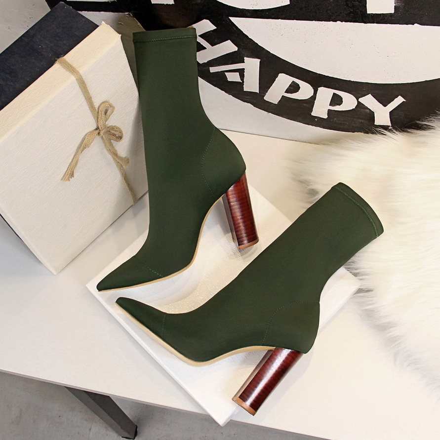 2019 fashion designer low wood heel ankle <strong>boots</strong> for women