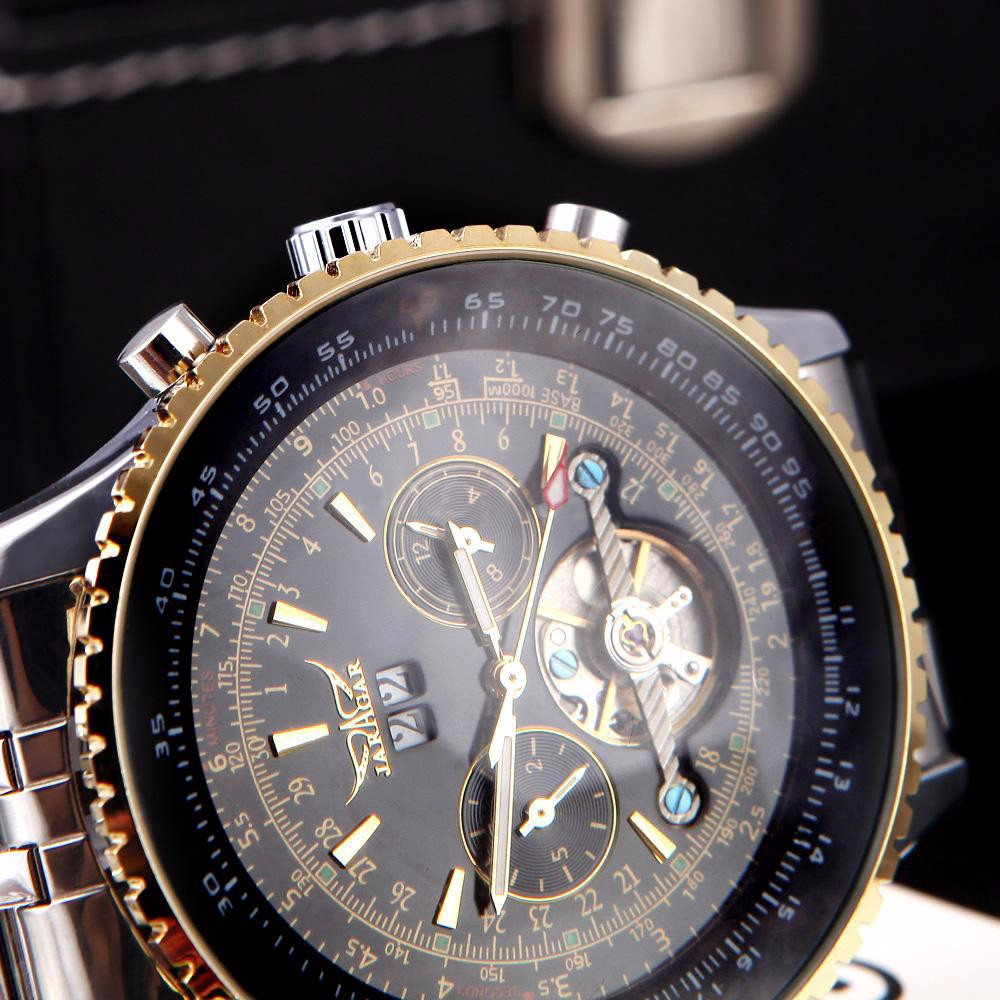 Wrist watches brands for mens - 2016 Jaragar Brand Mens Automatic Pilot Watch Steel Straps Tourbillon Men Wristwatches