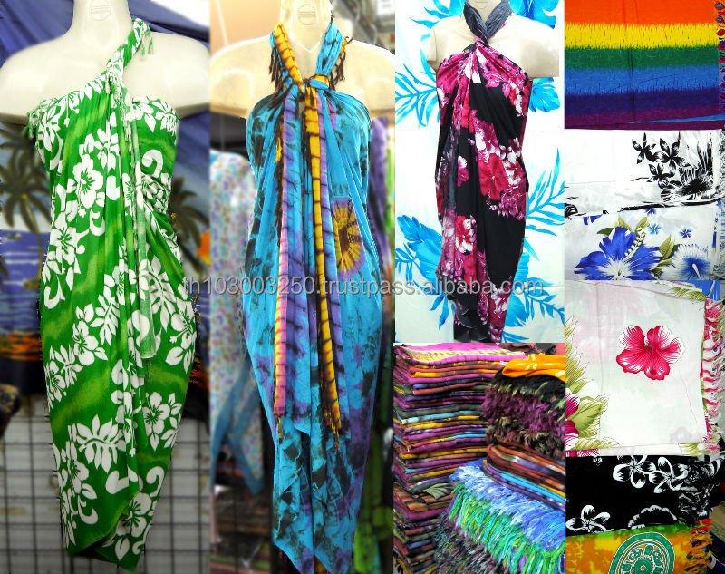Antik Hipi Boho Tie Dye Warna Blok Bunga Hawaii Pantai