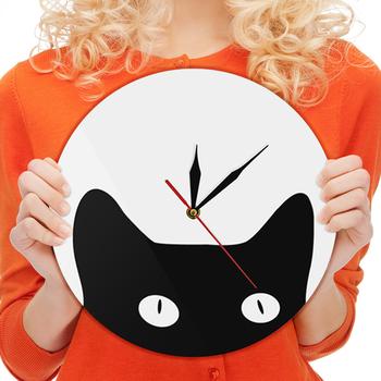 Peeping Cat 3D Wall Clock Moder Indoor Decoration Black Cat Acrylic Time Clock Unique Gift Idea For Cat Lover