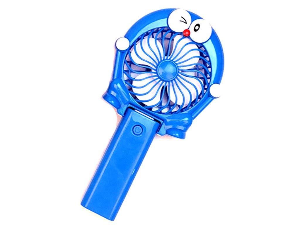 2 in 1Mini Handheld Fan, Cartoon shape with USB Rechargeable Operated Electric Fan for 4 Modes for Home, Office, Bedroom and Outdoor Travel(Blue)