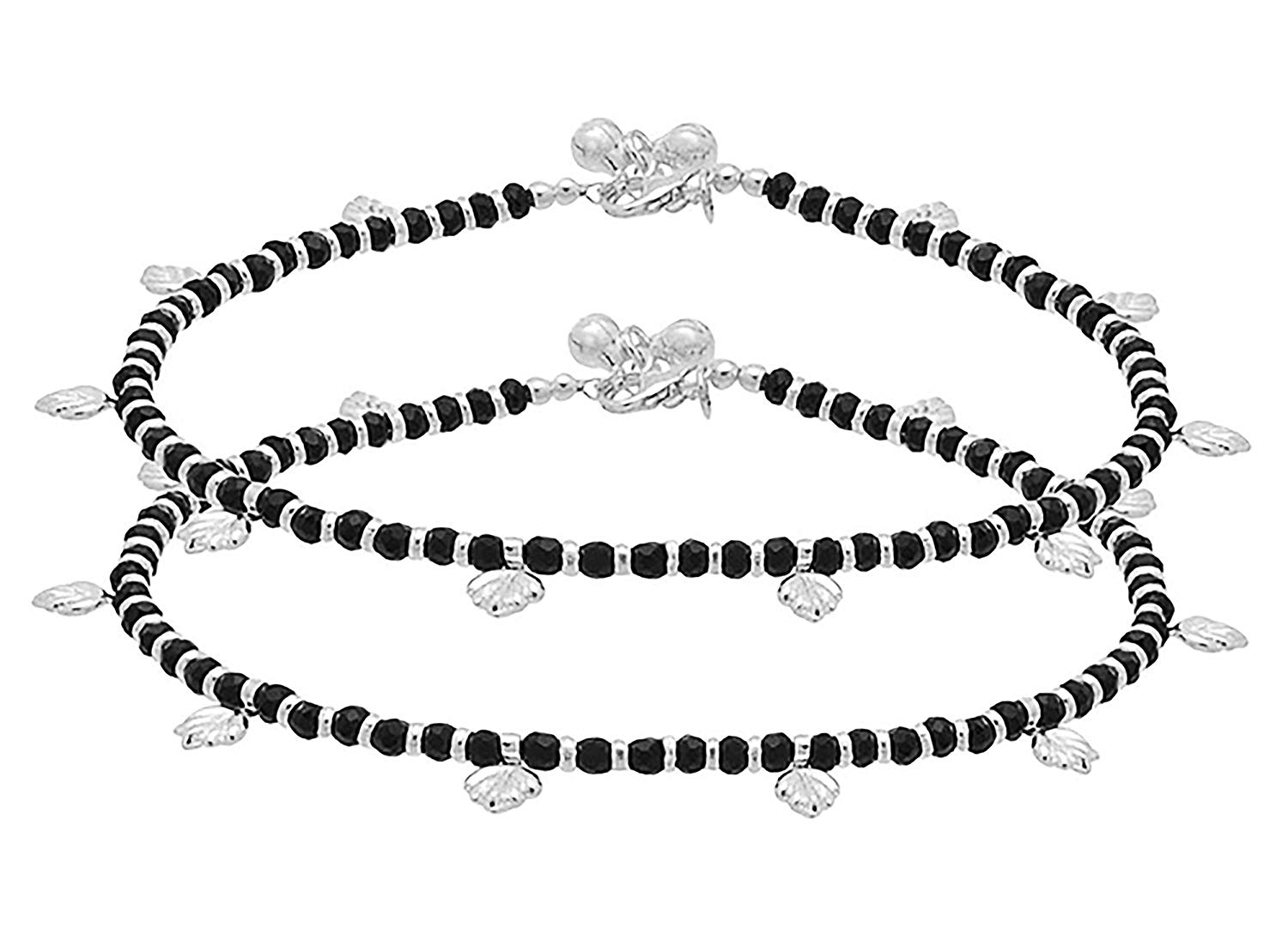 D&D Crafts Black Beads Studded Sterling Silver Pair of Anklets for Women, Girls