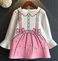 2016 autumn new children wear girls dress inlaid pearl cute cartoon long-sleeved dress