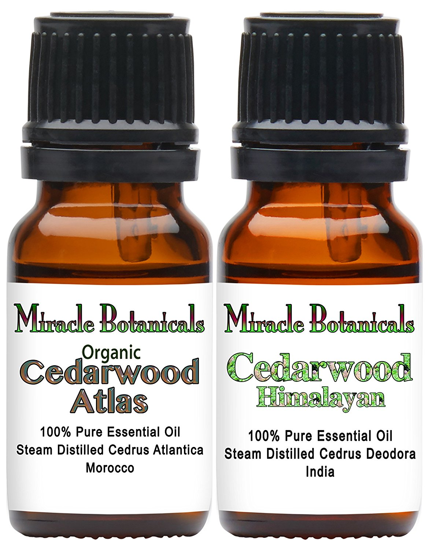 Miracle Botanicals Organic True Cedarwood Essential Oil Set - 100% Pure Therapeutic Grade Essential Oils of Organic Himalayan Cedarwood and Organic Cedarwood Atlas - (2) 10ml