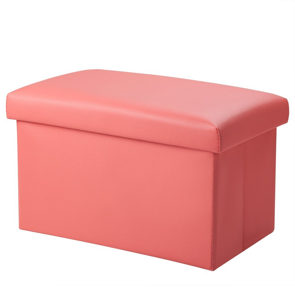 Get Quotations Foldable Leather Storage Ottoman Bench Footrest Stool Coffee Table Cube For Home Office