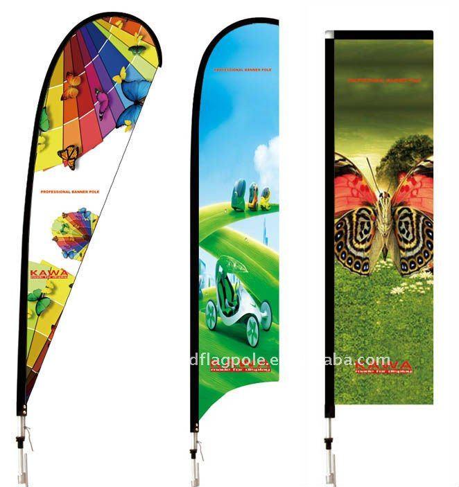 Outdoor Custom Beach Flag Pole Feather Banner Diffe Bases