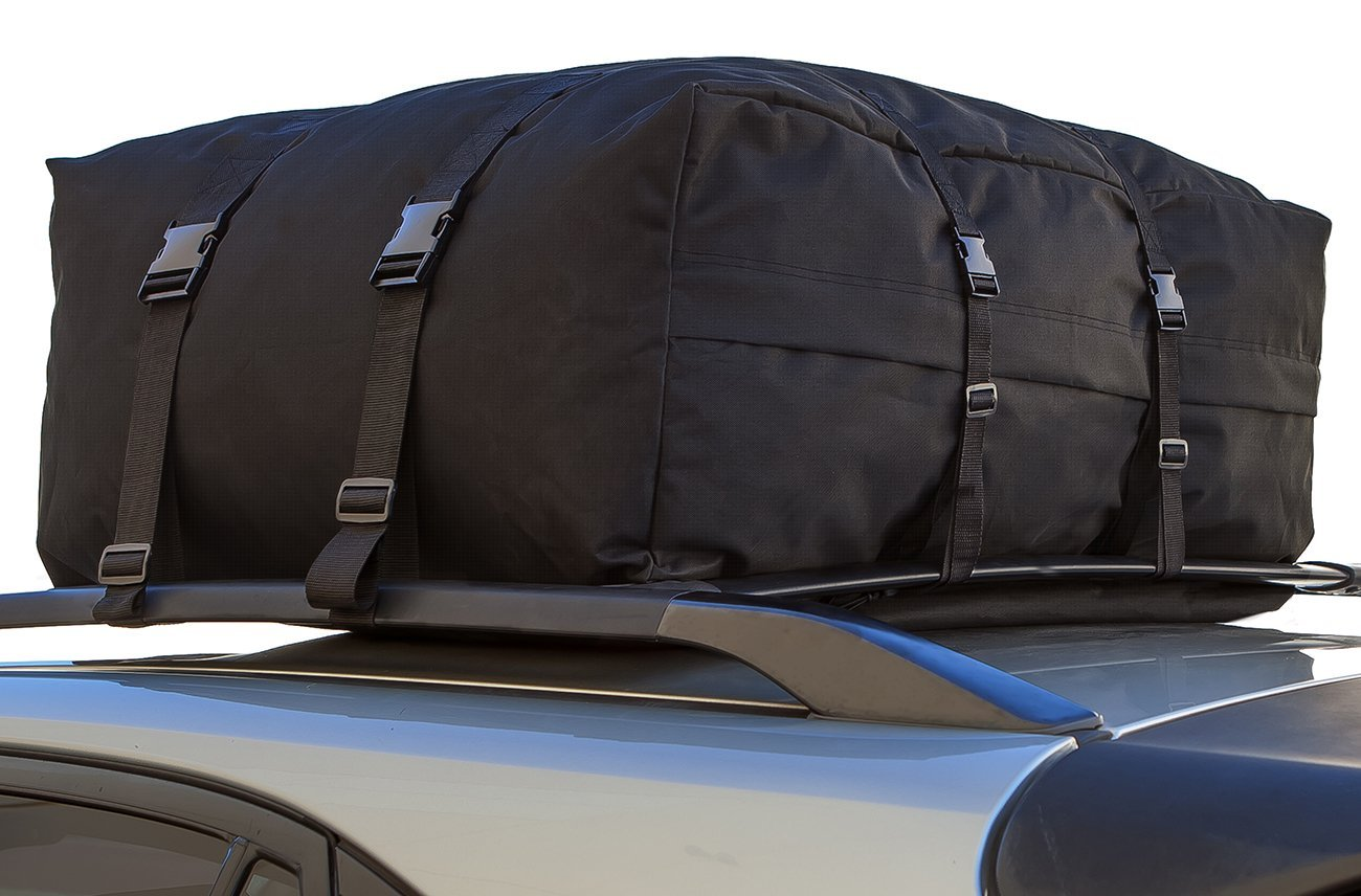 INTEY Cargo Bag Rooftop Cargo Carrier Waterproof Car Roof Storage 15 Cubic Feet for Car Van and SUV