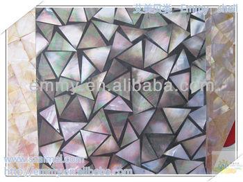Triangolo nero grigio madre di perla conchiglia mosaico in resina