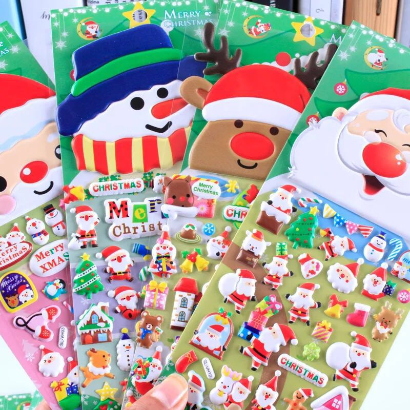 The Most Popular Funny Adhesive Christmas Kids PVC Bubble Sticker