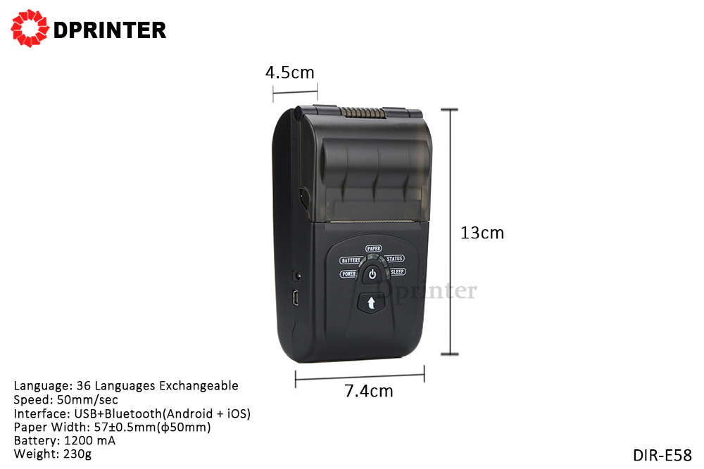 Dprinter 2 Inch Mini BLUETOOTH Handheld Thermal Printer for Android IOS Windows