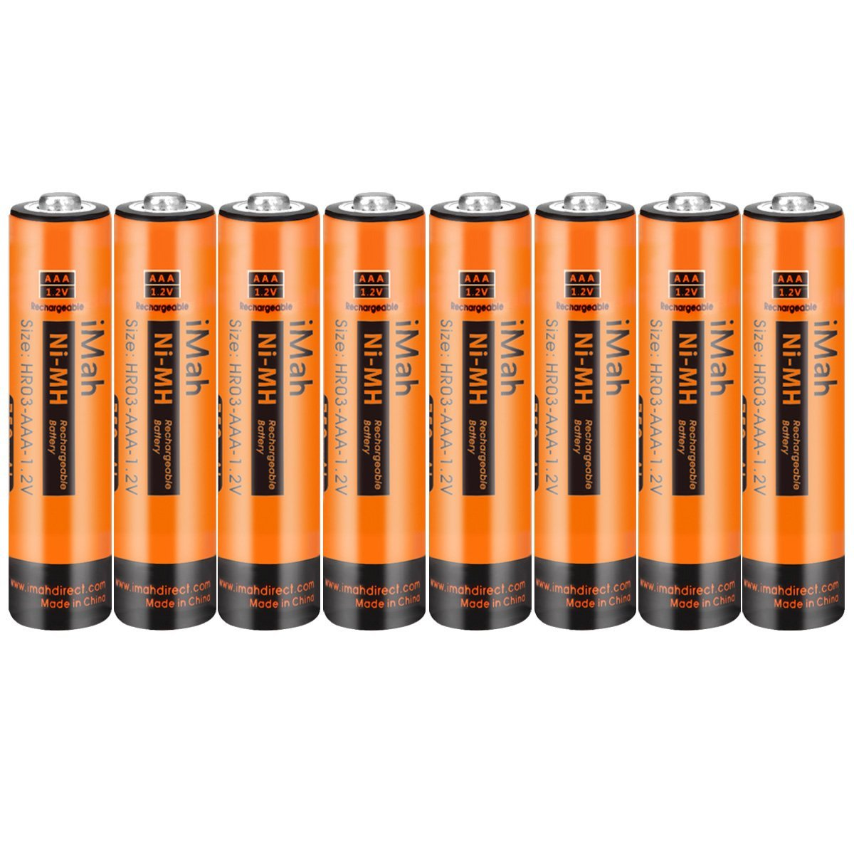 8-Pack iMah HR03 AAA Rechargeable Batteries for Cordless Phone Pre-charged