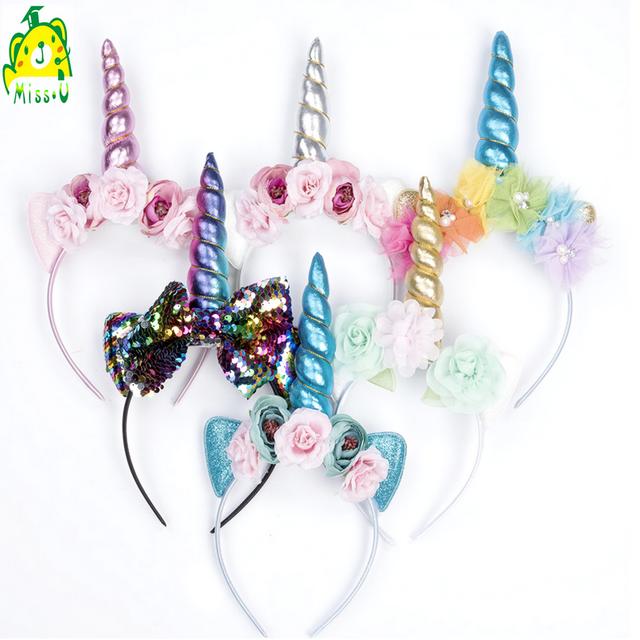 wholesale Party decorate Stuffed Sequins unicorn headband