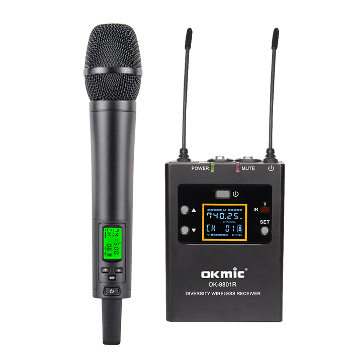 Professional digital ID True Diversity Handheld Wireless Microphone with Camera-Mount Receiver Kit (500-960 MHz)