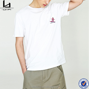 Customized garment custom logo blank white embroidered t shirts mens
