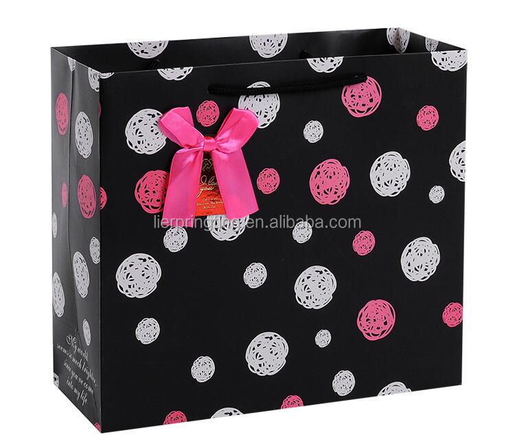 LE Hot Sell China Manufacture Logo Custom Printed cute pink shopping Boutique present Paper Bag gif paper Bag carry