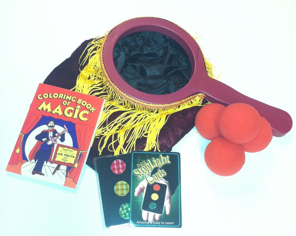 Complete Magic Set--Includes BIG FRINGE Zipper Change Bag; 4 Red Sponge Balls; Mini Coloring Book of Magic and Magic Stoplight Cards