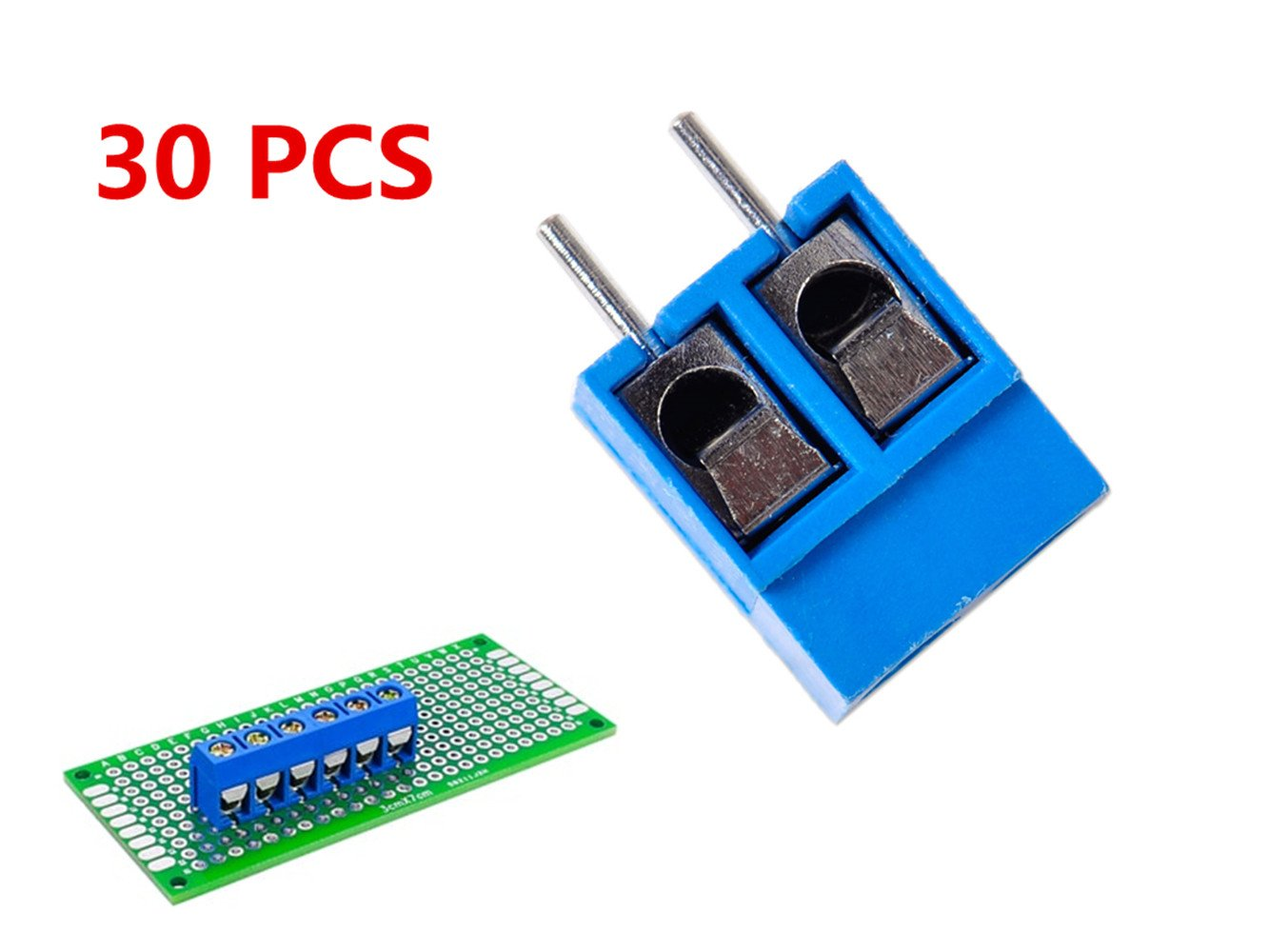 Stackable Screw Terminal Block PCB Mount 2-Pin 5 mm Pitch Side Entry 30 Pieces