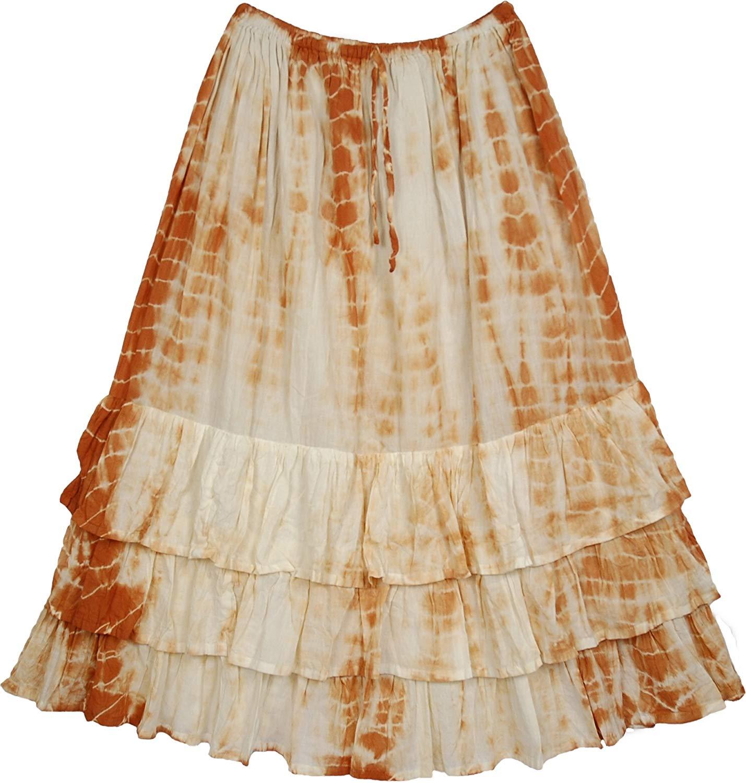 "TLB Scaler Brown Layered Skirt - Brown Tie Dye - Length: 33""; Waist: 28"" - 34"""