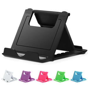 Portable universal adjustable foldable plastic tablet cell phone stand holder for desk with Laser and Screen printing logo