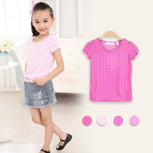 Stock Summer Lovely Girls Pink Good Quality Cotton Cool Kids T Shirts